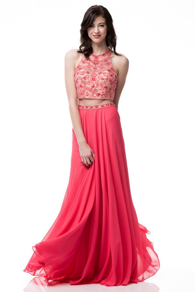 Two Pieces Long Sleeveless Prom Dress
