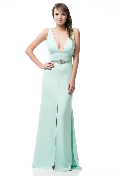 V-Neck Sheath Long Evening Dress