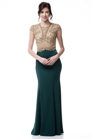 Cap Sleeve Scoop Neck Evening Long Dress