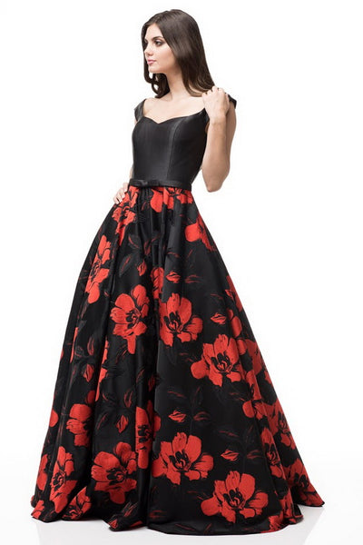 Off Shoulder Black Red Printed Skirt Solid Top Evening Dress - Prom And Bridal Dress House