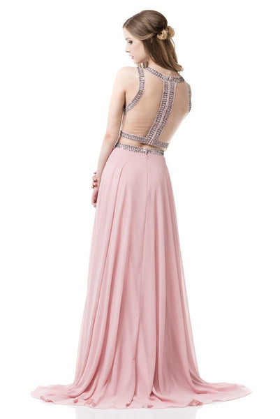 2-Piece Set Sleeveless Sheath Prom Dress