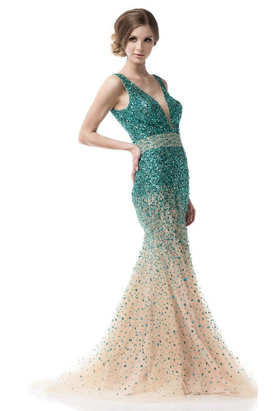 Evening Prom V-Neck Sleeveless Sheath Emerald Dress