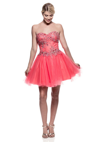 Divine Coral Short Evening Dress - Prom And Bridal Dress House