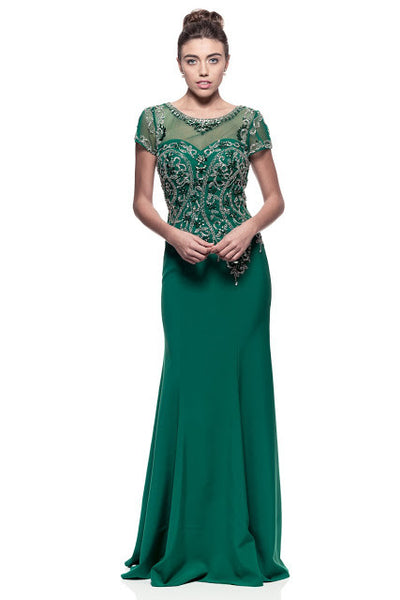 Evening Dress Cap Sleeve Long Bateau Neck - Prom And Bridal Dress House