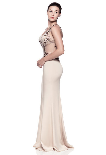 Beautiful Beige Long Evening Dress - Prom And Bridal Dress House