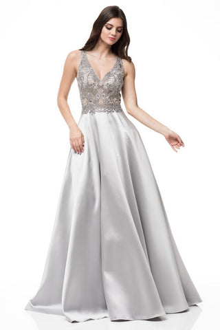 V-Neck Sleeveless A-Line Mikado Silver Dress