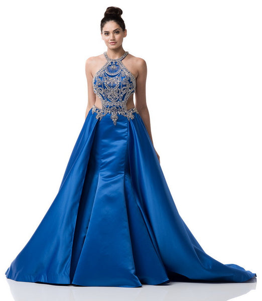 Halter Neck A-Line Prom Evening Long Dress