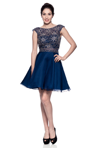 Cap Sleeve Scoop Neck Short Cocktail Dress - Prom And Bridal Dress House