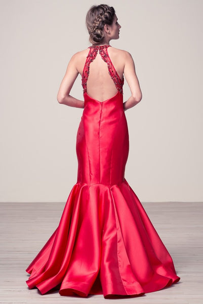 Halter Neck Backless Mermaid Long Evening prom Formal Dress - Prom And Bridal Dress House