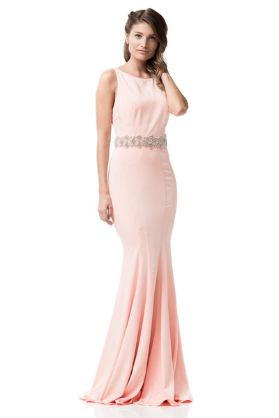 Prom Peach Sleeveless Long Dress