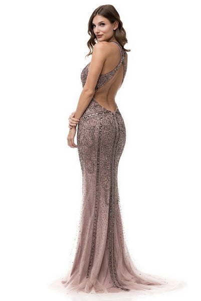 Halter Neck Sleeveless Backless Trumpet Dress - Prom And Bridal Dress House