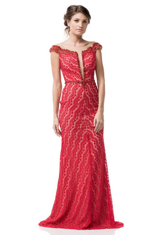 Cap Sleeve Long Evening Dress