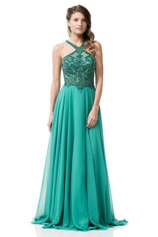 Halter Prom Evening Long Dress