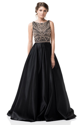 Sleeveless Satin Skirt A-Line Evening Dress