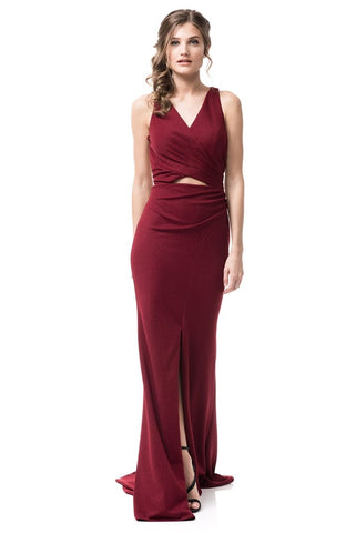V-Neck Sleeveless Evening Dress