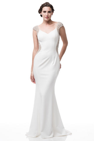 Cap Sleeve White Evening Gown