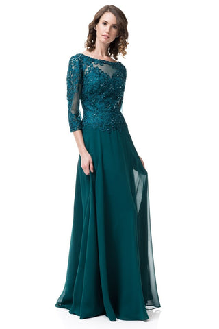 Long Sleeve Bateau Neck Evening Gown - Prom And Bridal Dress House