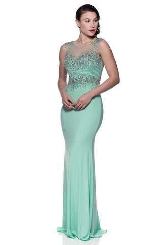 Aqua Backless Long Evening Dress - Prom And Bridal Dress House