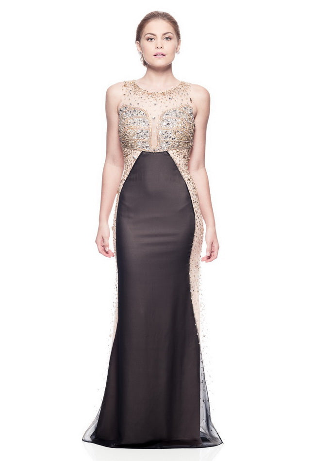 Cute Black Gold Long Evening Dress - Prom And Bridal Dress House