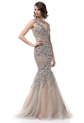 Evening Gown Silver Sleeveless Embroidered - Prom And Bridal Dress House
