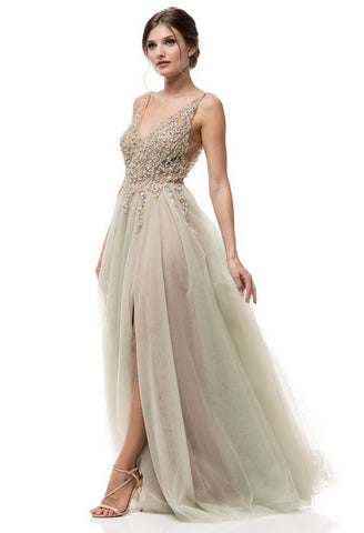Sleeveless Tulle A-Line Prom Dress