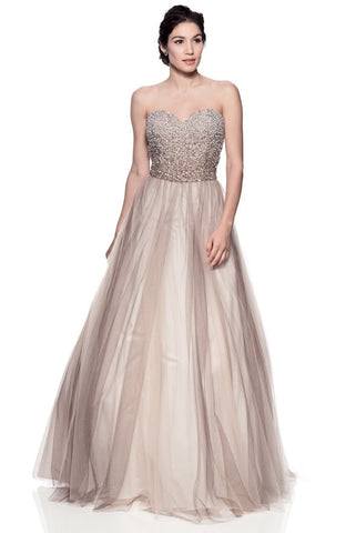 Strapless A Line Prom Gown