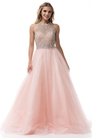 Halter Neck Sleeveless Backless Ball Gown