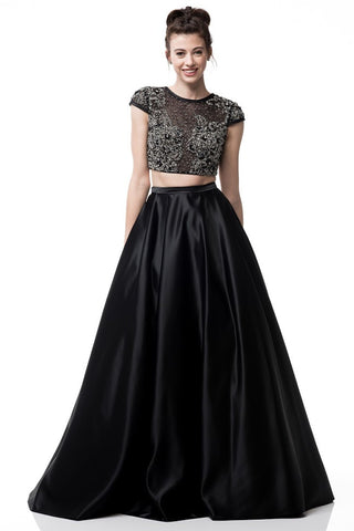 2-Piece Set Prom Evening Short Sleeve Dress
