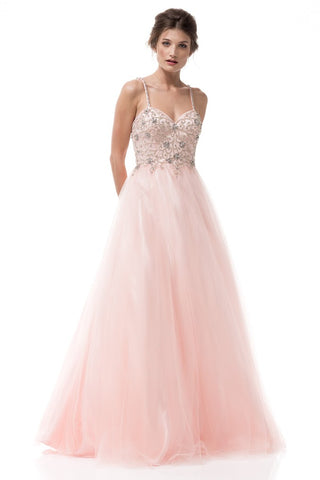Sleeveless Tulle Prom Gown