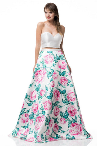 Strapless Two Pieces Dress with Satin Printed Skirt