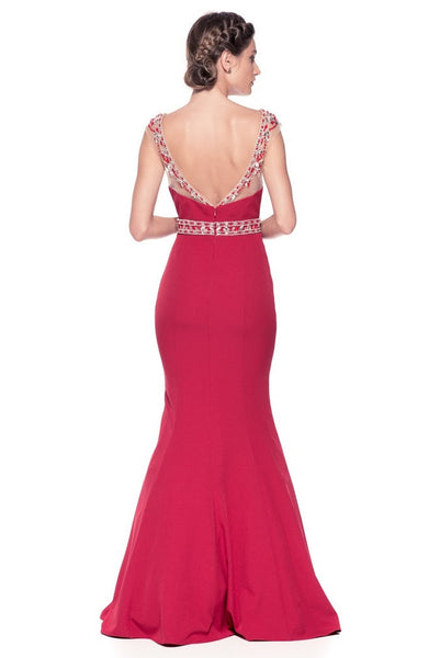 Cap Sleeve Mermaid Formal Evening Dress - Prom And Bridal Dress House