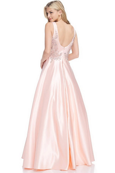 V-Neck A-Line Sleeveless Evening Gown