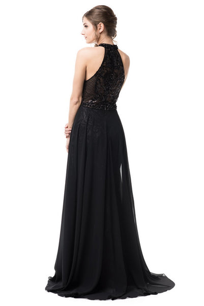 Halter Neck Evening Sequin Chiffon Dress - Prom And Bridal Dress House