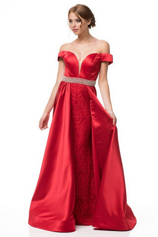 Off Shoulder A-Line Satin Crepe Lace Beaded Dress - Prom And Bridal Dress House