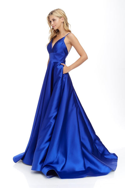 V Neck Satin Long Dress