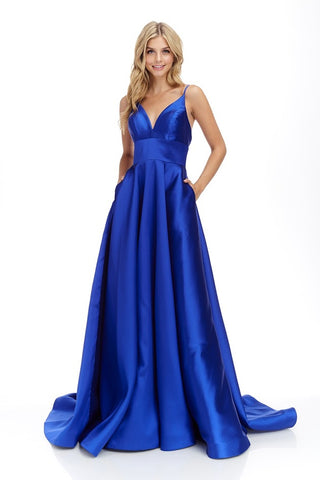 Satin V-Neck Long Sleeveless Royal Blue Evening Dress