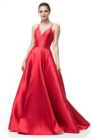 Sleeveless Satin Red Long Prom Dress