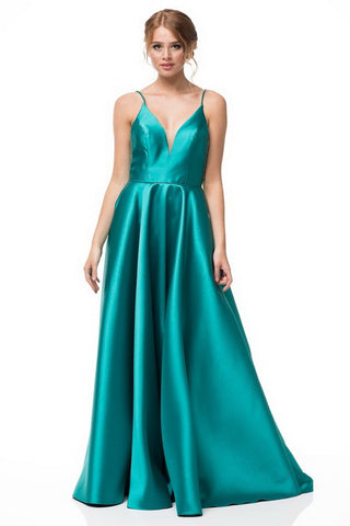 V-Neck Mikado Beading Side Pockets Evening Dress