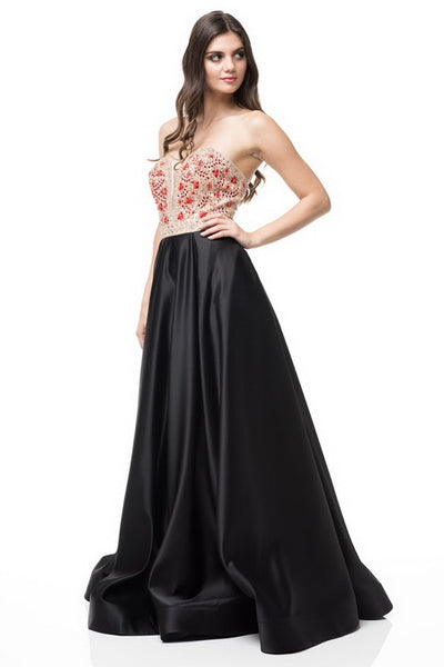 Strapless A-Line Satin Long Evening Dress