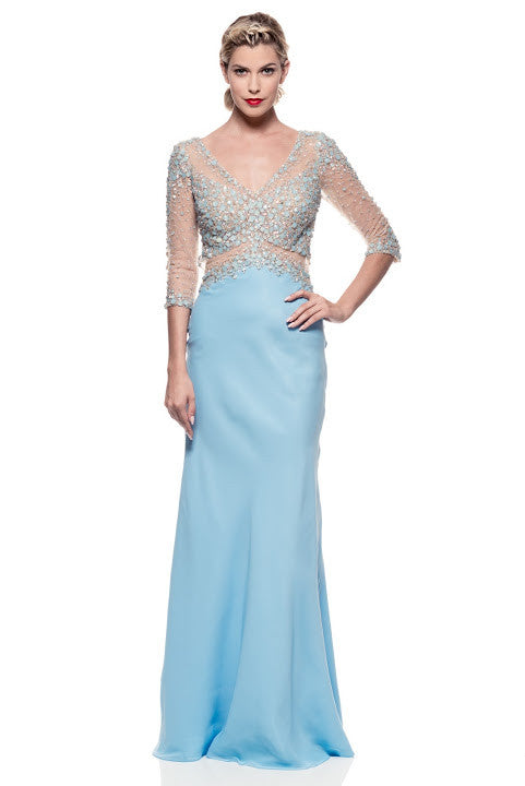 Evening Prom Bridal Dress Long Sky Blue - Prom And Bridal Dress House