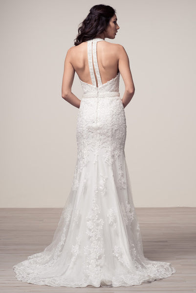 Halter Neck Sleeveless Backless Trumpet Bridal Dress - Prom And Bridal Dress House