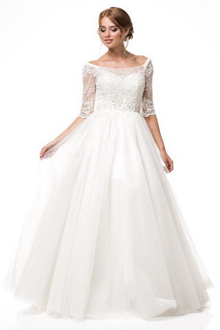 AG Stydio Off White Bridal Dress with 3/4 Sleeves and Bateau Neck - Prom And Bridal Dress House