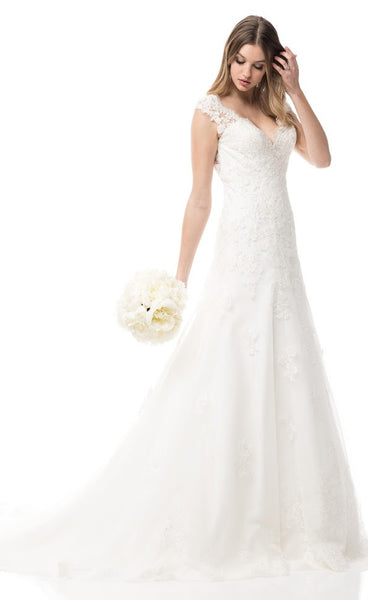Cap Sleeve V-Neck Wedding Dress - Prom And Bridal Dress House
