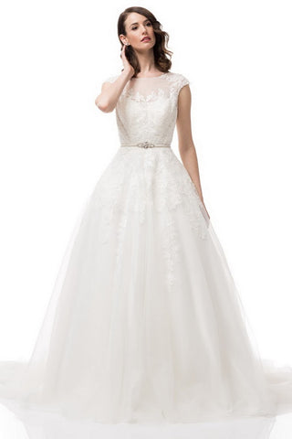 Cap Sleeve Bateau Neck Embroiderd Bridal Dress - Prom And Bridal Dress House