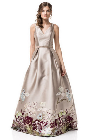 Sleeveless Printed Skirt Mikado Evening Dress