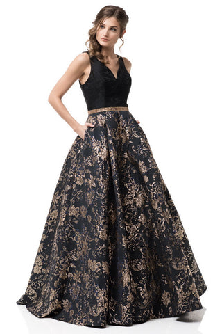 V-Neck Sleeveless Black Gold Evening Dress