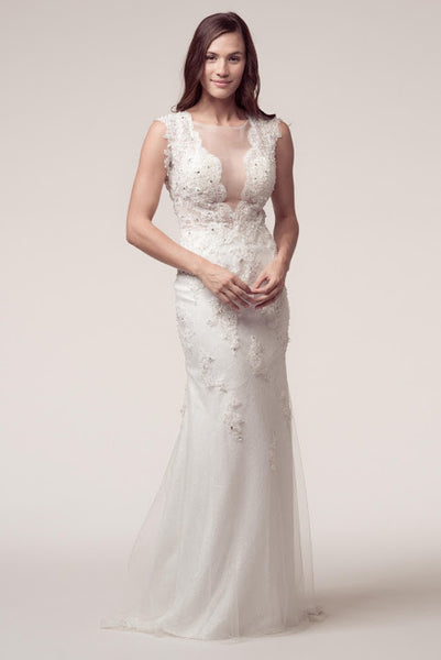 Sleeveless Bateau Neck Backless Sheath Bridal Dress - Prom And Bridal Dress House