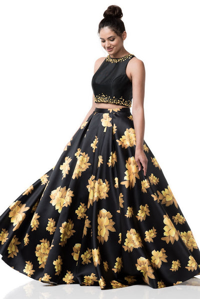 Two Piece Prom Evening Dress With Printed Skirt