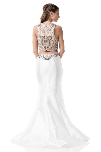 Two Pieces Prom Evening White Dress