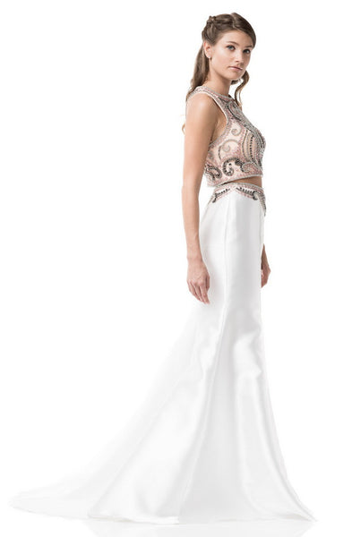 Two Piece Prom Evening White Long Dress